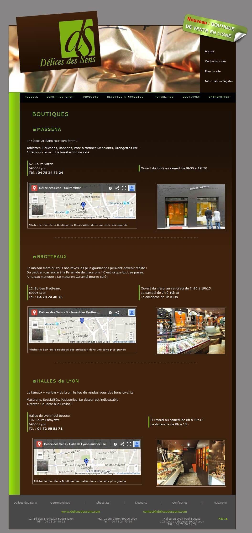 Création site internet chocolaterie LYON 5