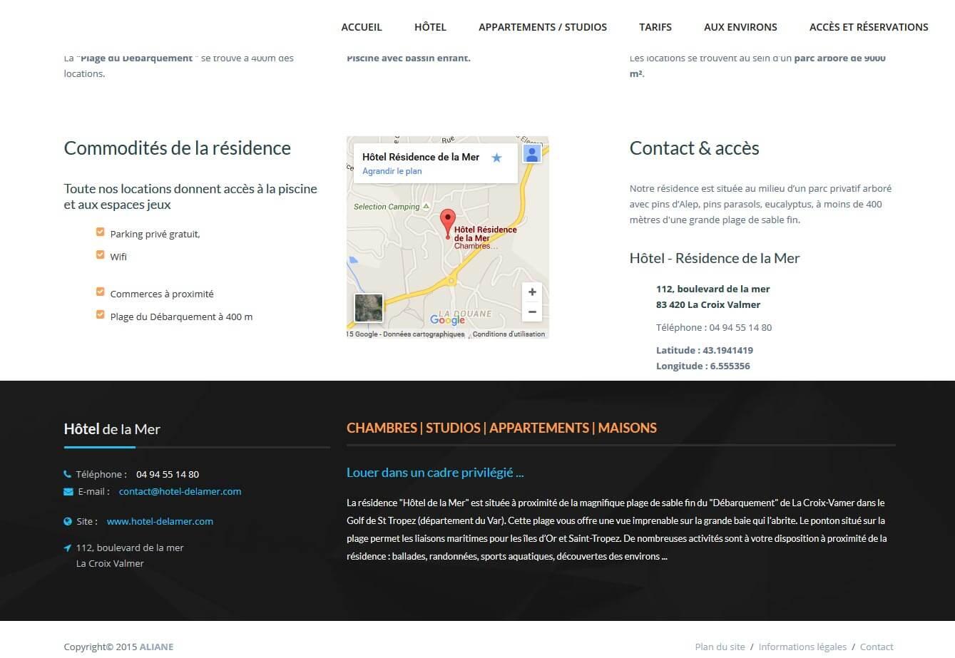 Création site internet Croix Valmer hôtel résidence c