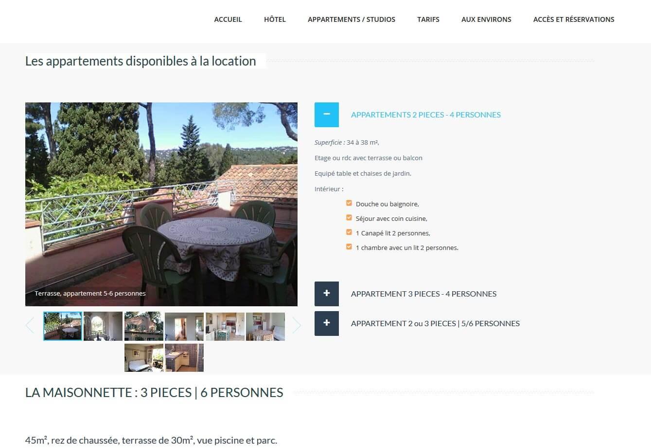 Création site internet Croix Valmer hôtel résidence détail