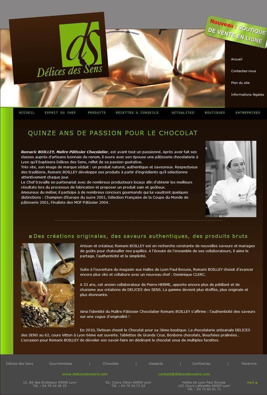 Création site internet Délices des Sens Chocolatier