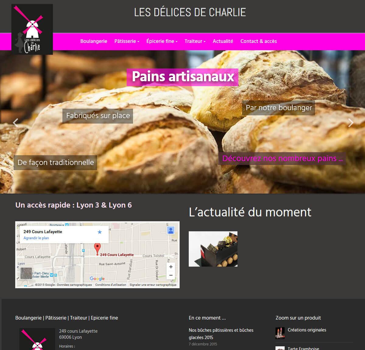 Création site internet vitrine LYON 6 pâtisserie Délices de Charlie