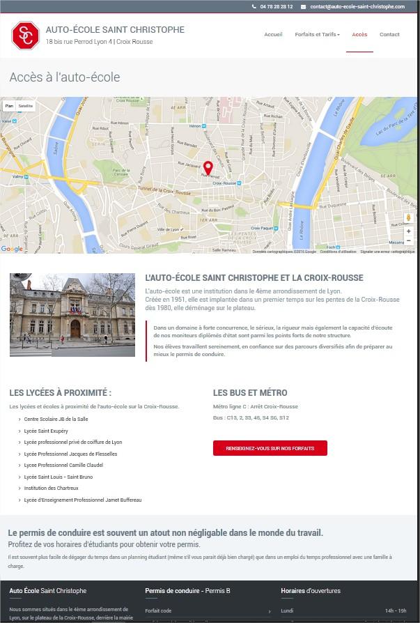 Création site internet auto école Lyon Croix Rousse page d'accès