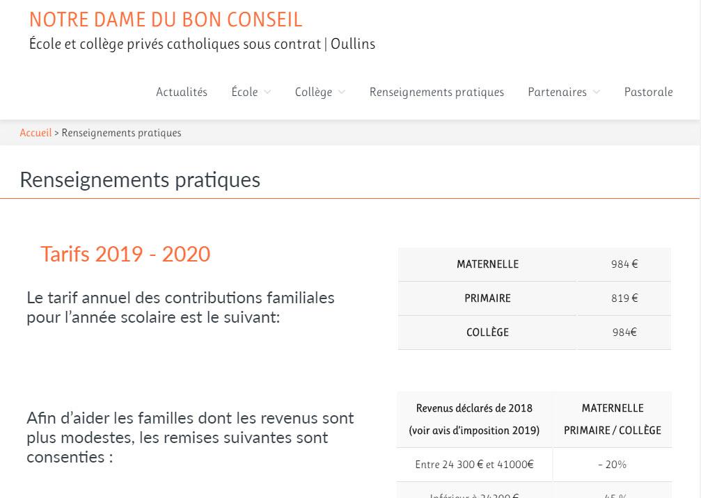 Conception et réalisation site internet Oullins Ecole et collège La camille 2019